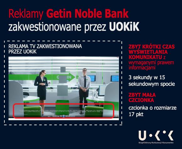 reklamy getin noble bank zakwestionowane przez uokik - zbyt krótki czas wyświetlania i czcionka