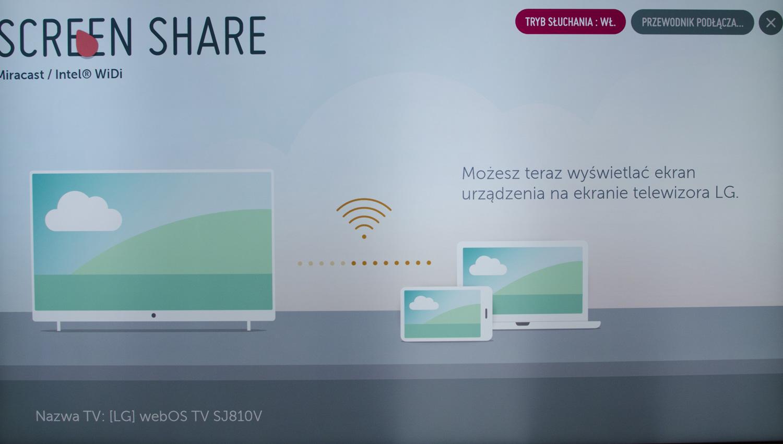 LG Super UHD 4K Nano Cell udostępnianie ekranu screen share