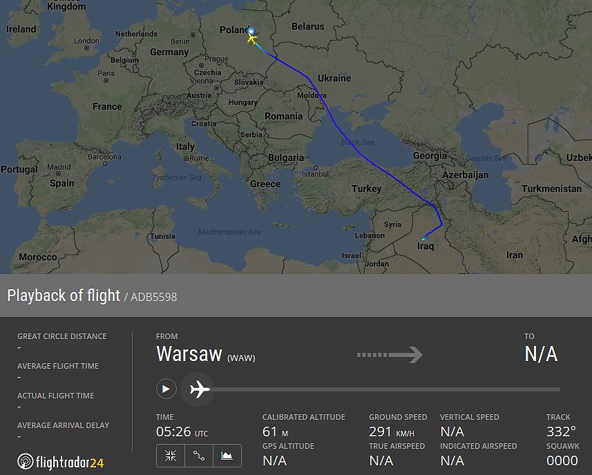 Antonov An-124 z Iraku do Polski Flightradar