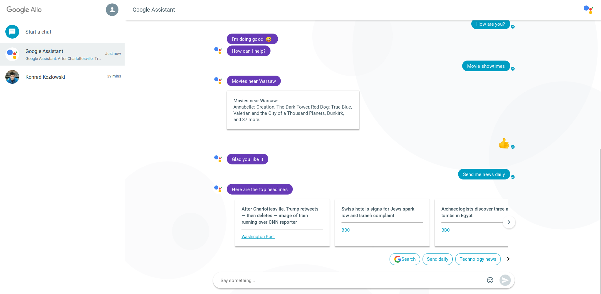 google allo dialog na komputerze - screenshot