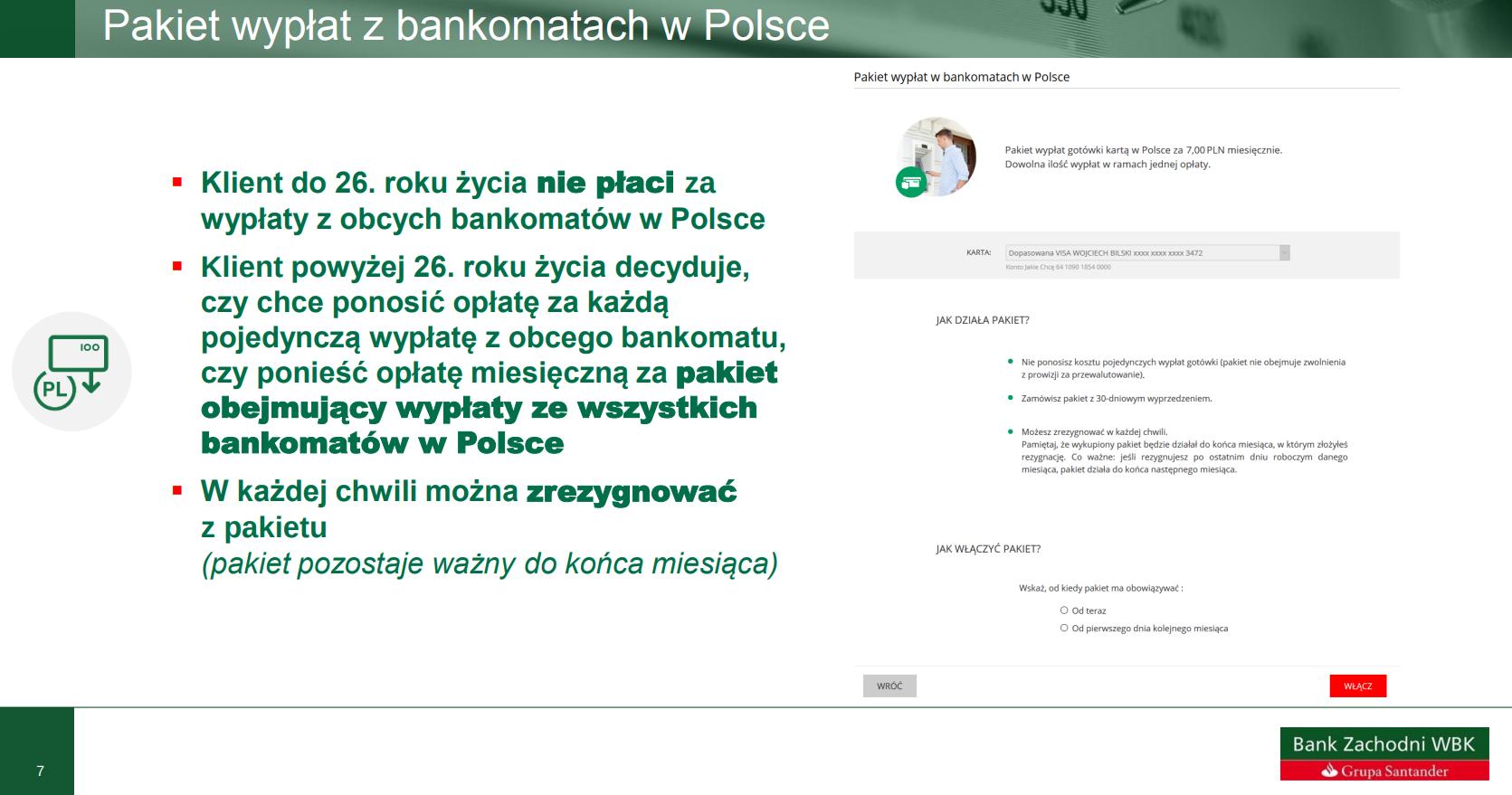 Wypłaty z bankomatów w BZWBK