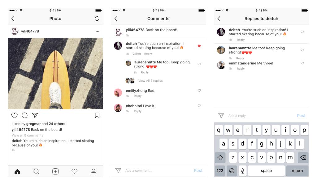 wątki w komentarzach na instagramie - zmiany