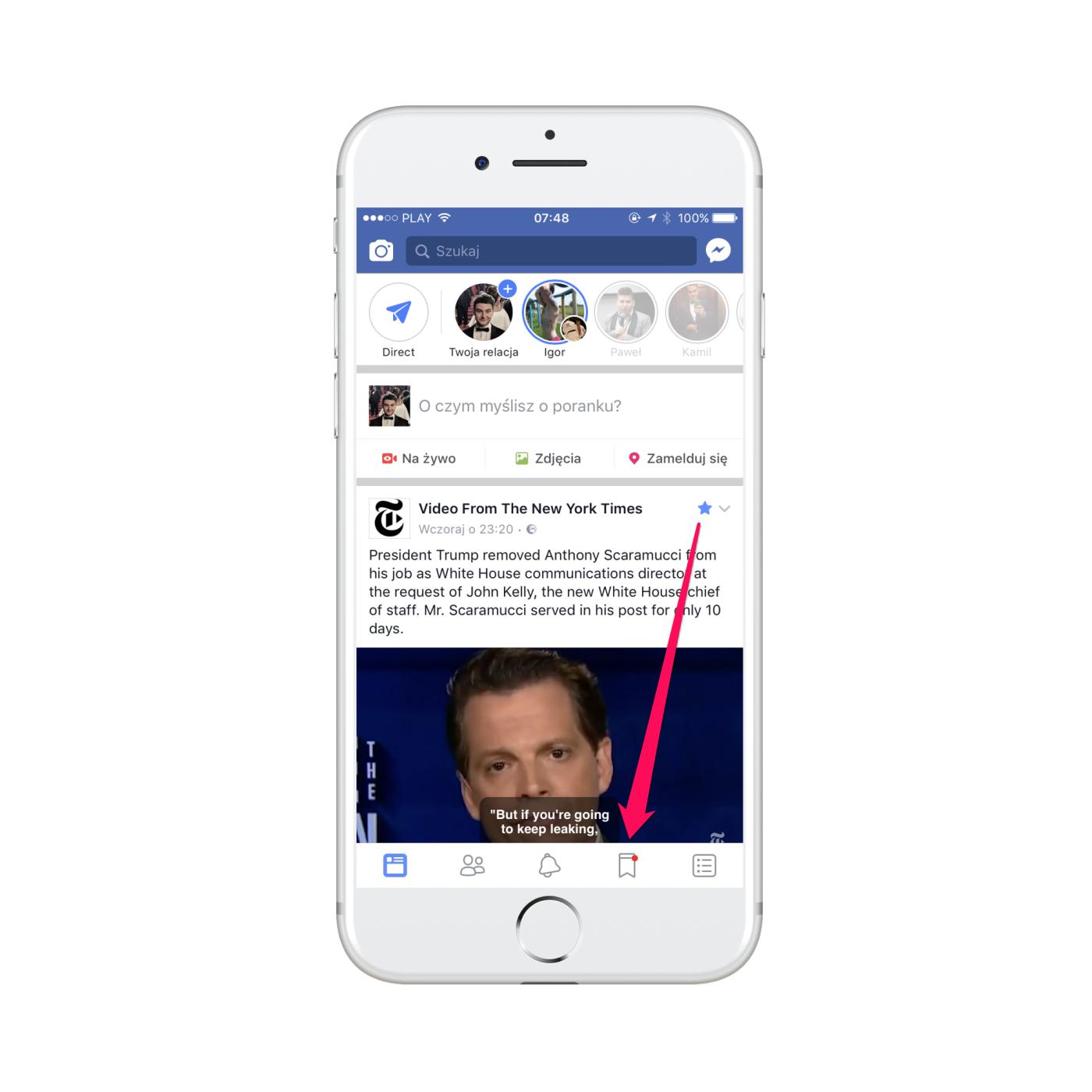 zmiany w aplikacji facebook - smartfon iphone