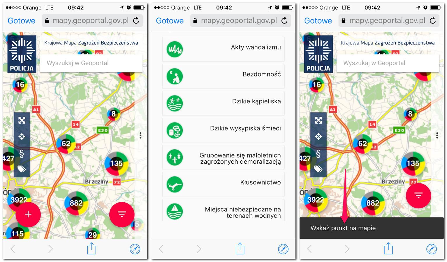 Krajowa Mapa Zagrożeń Bezpieczeństwa - screenshot ze smartfonu