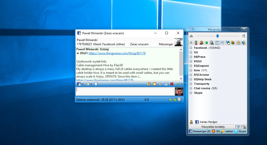 miranda IM wiadomość gg screenshot windows 10
