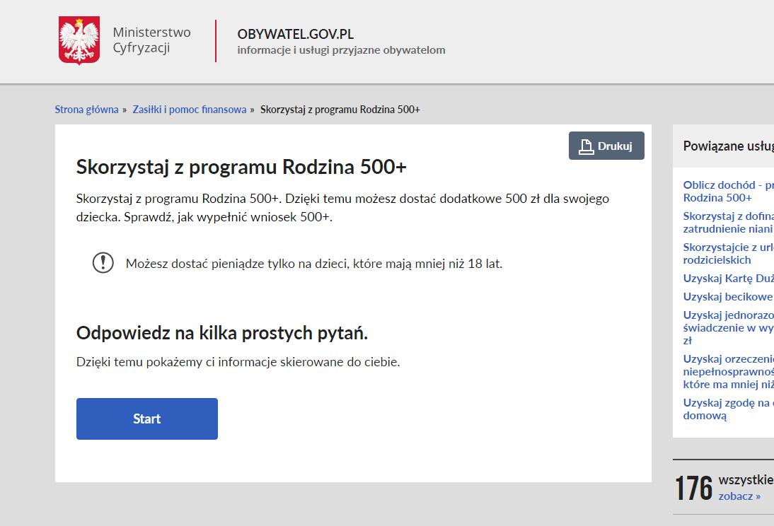 obywatel.gov.pl wniosek rodzina 500+