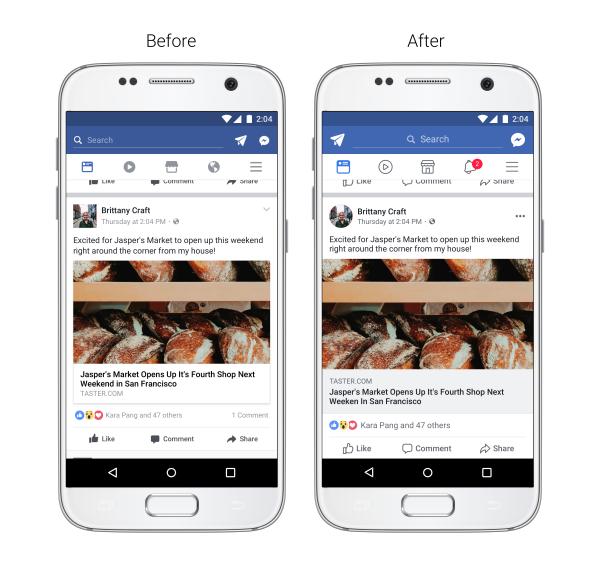 wygląd aplikacji facebook przed i po screenshot ze smartfona