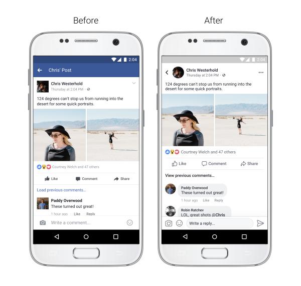 wygląd postu zmiana facebook przed i po