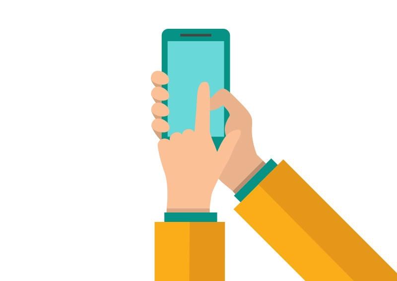używanie smartfonu przez człowiek grafika