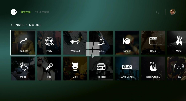 spotify xbox one wybór kategorii muzyki