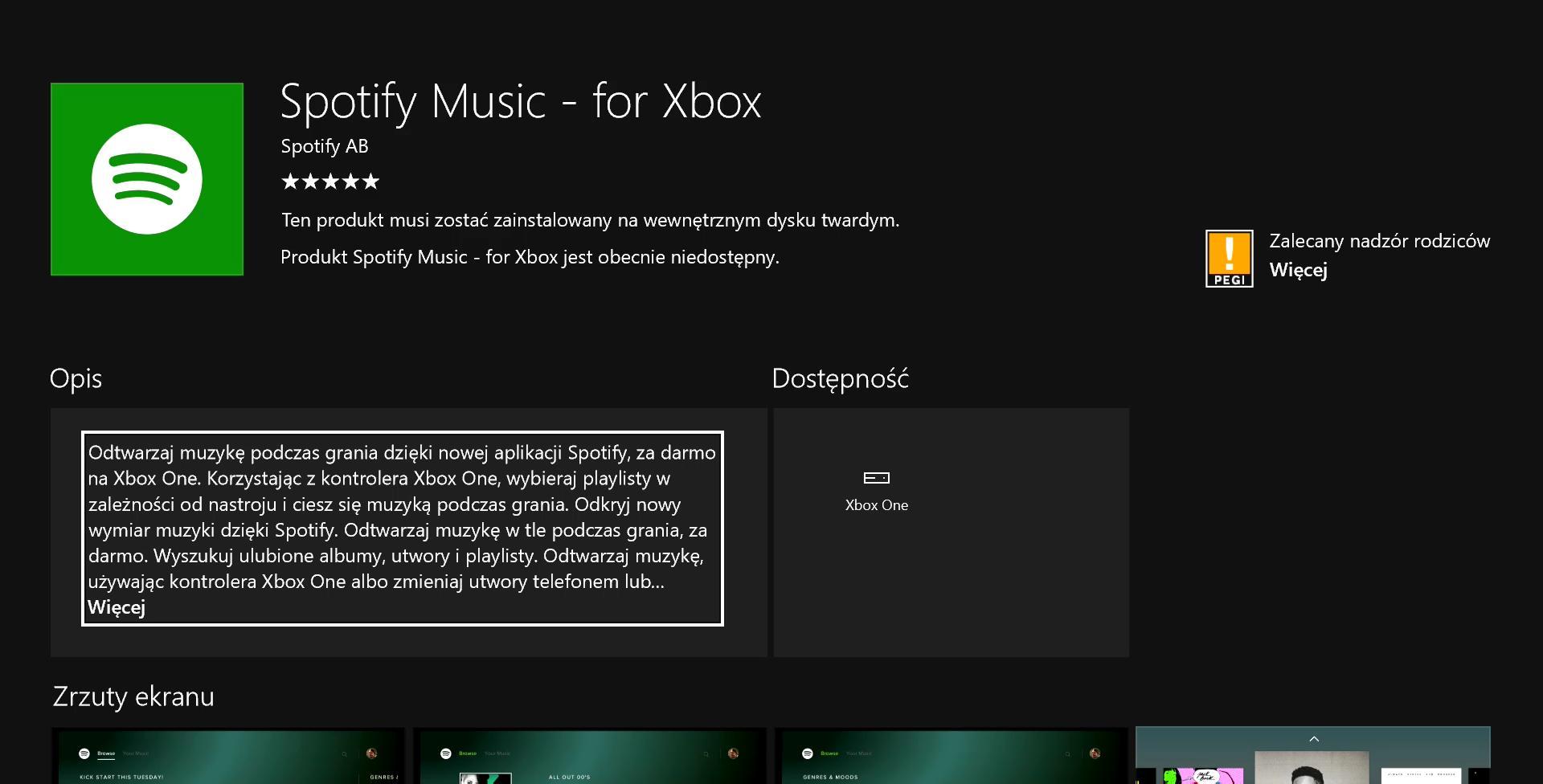 spotify music for xbox informacje o aplikacji