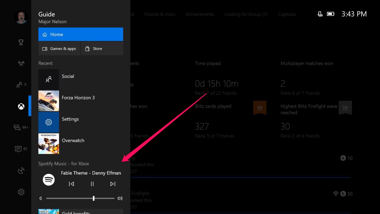 spotify na xbox one wygląd - odtwarzacz muzyki