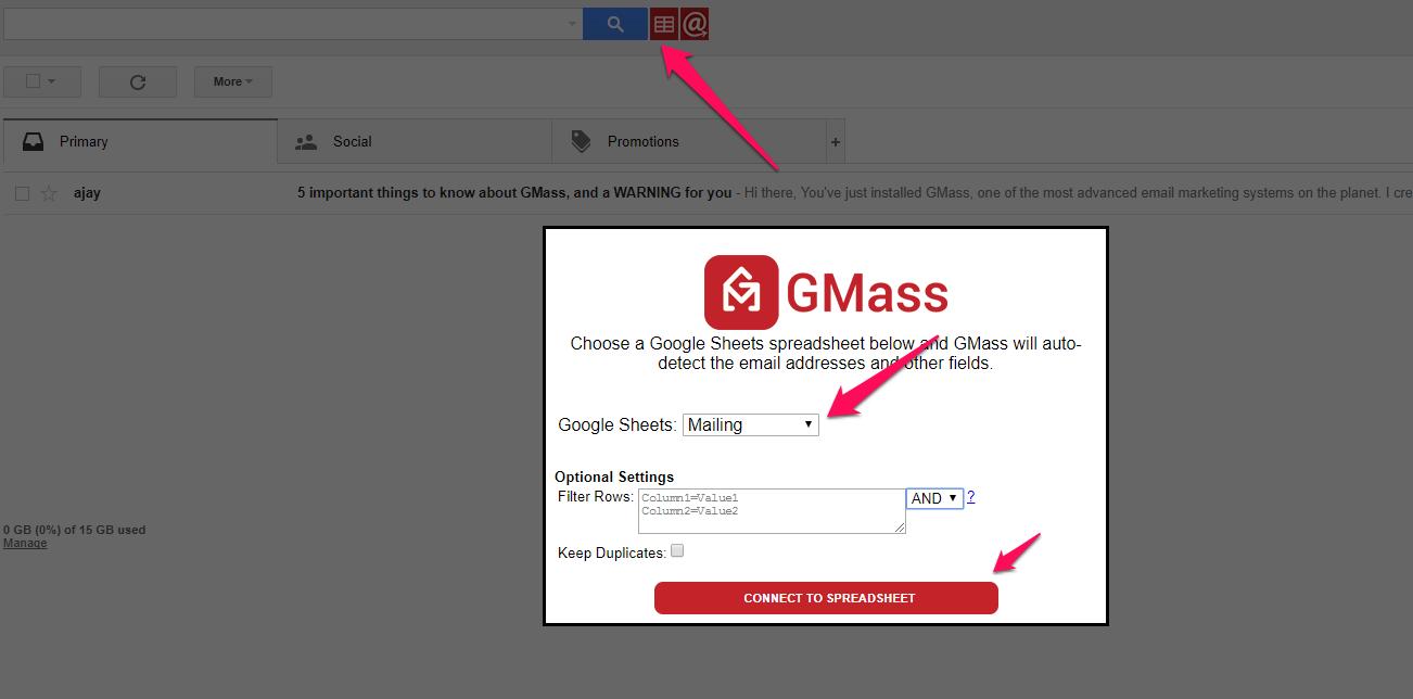 GMass mailing tworzenie kampanii