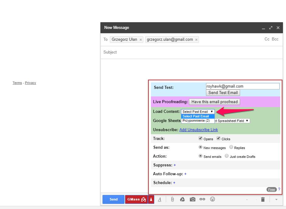 mailing gmail gmass wybór wiadomości