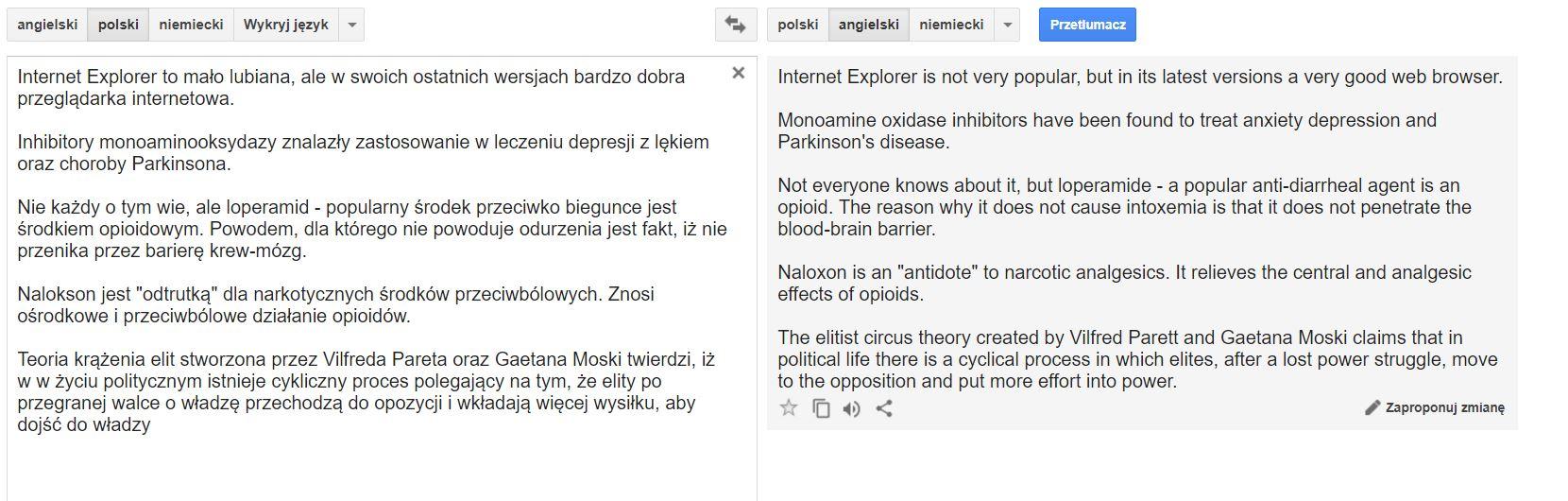 Tłumacz Google test tłumaczenia