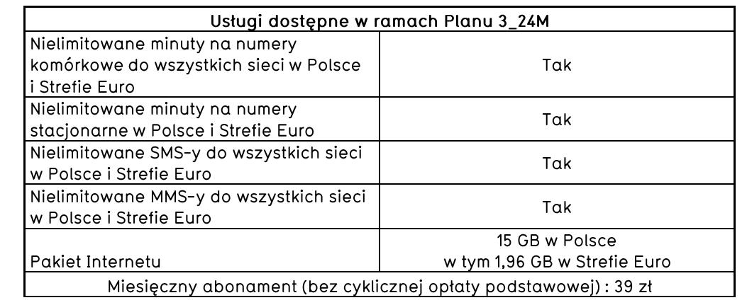 tabela usługi dostępne w ramach planu 3_24M virgin mobile