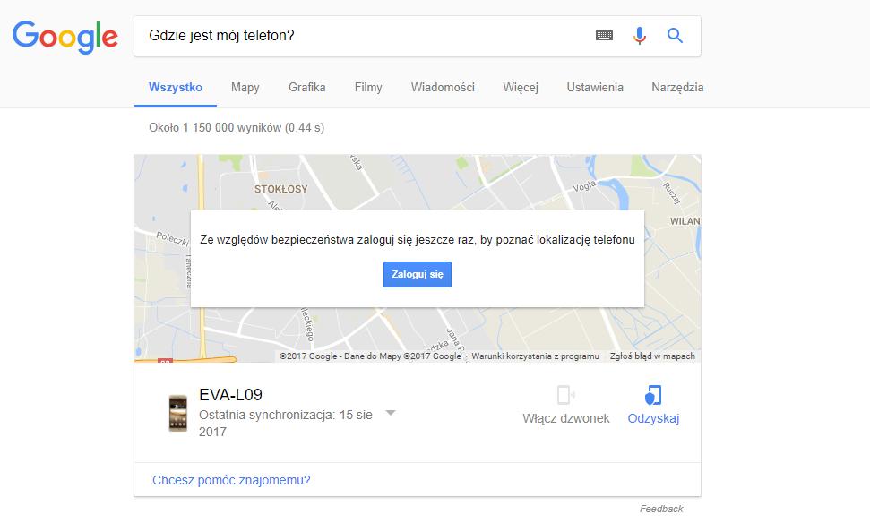 wyszukiwanie zagubionego telefonu poprzez Google