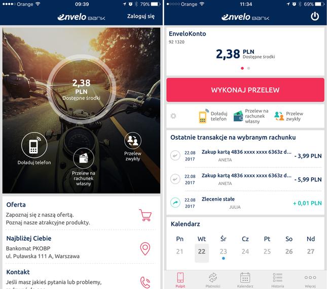 EnveloBank - aplikacja mobilna na smartfonie