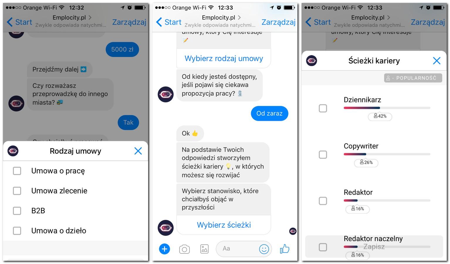 emplocity.pl - bot wyszukujący pracę na messengerze