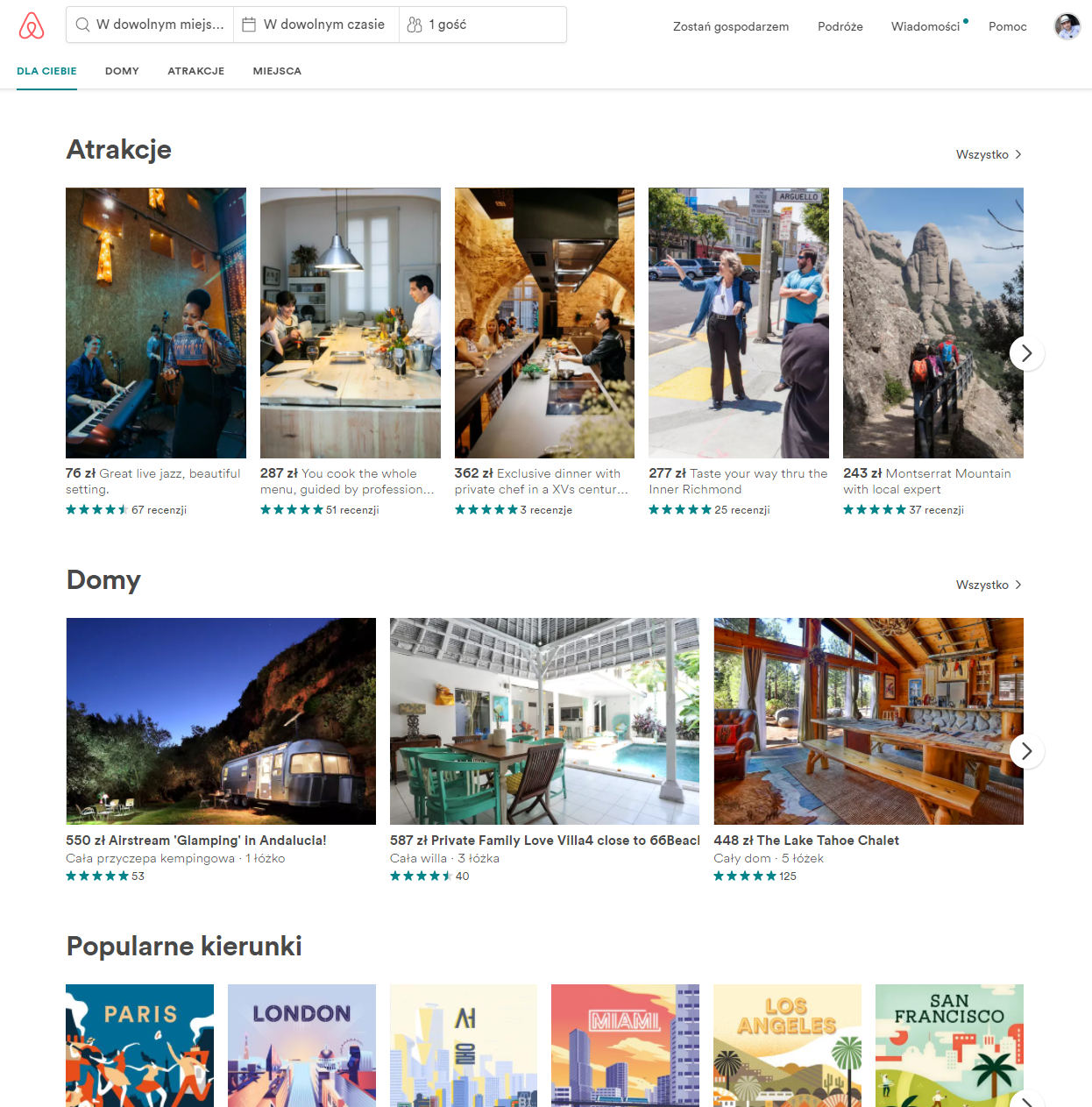 strona główna airbnb - atrakcje, domy, popularne kierunki