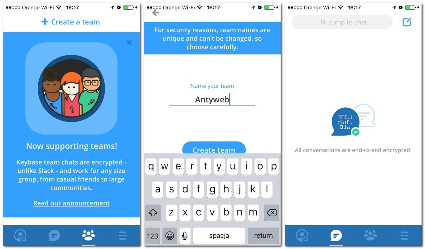Keybase Teams - aplikacja na smartfon