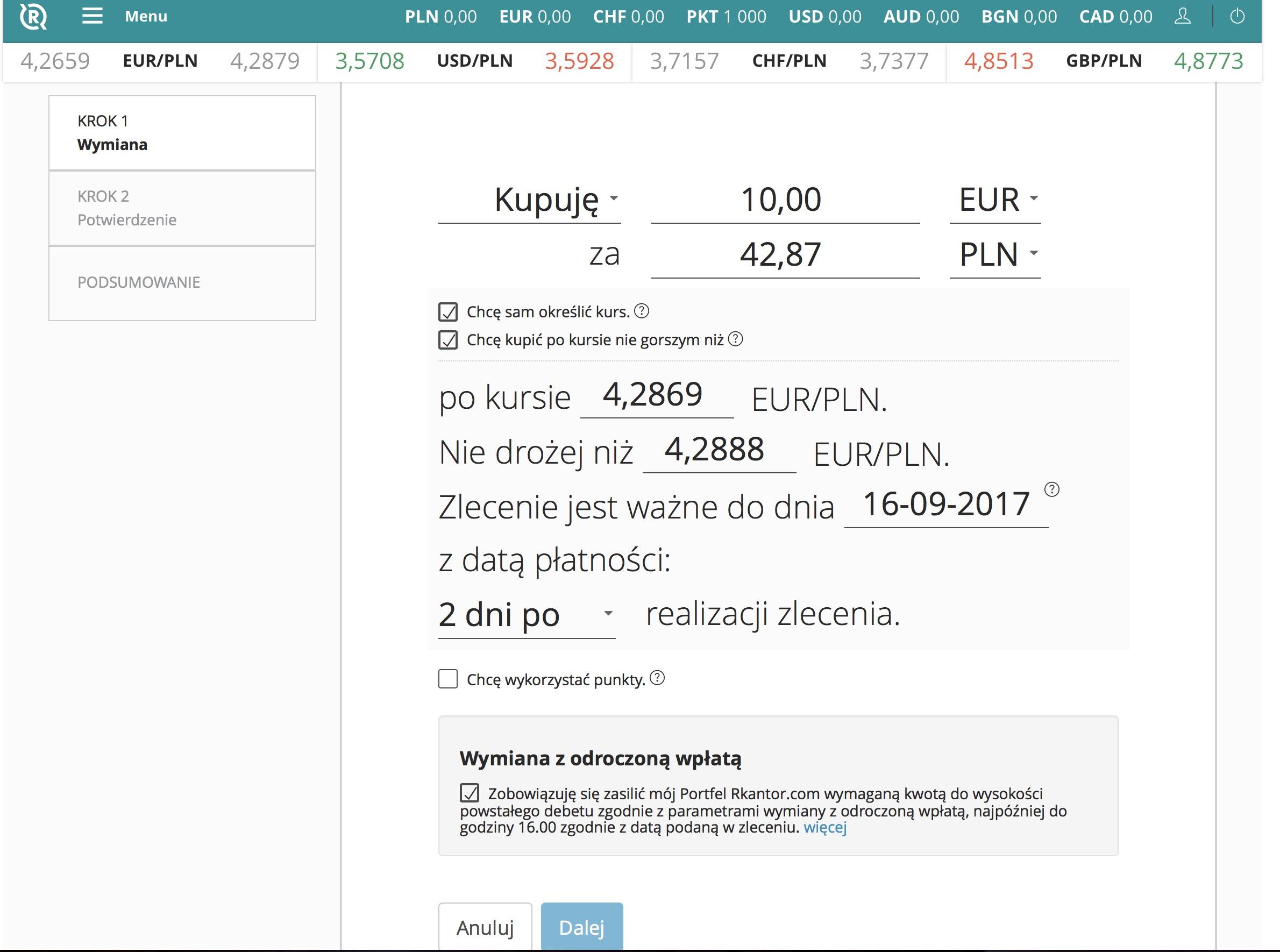 Sprzedaż i zakup waluty z odroczoną płatnością - rkantor