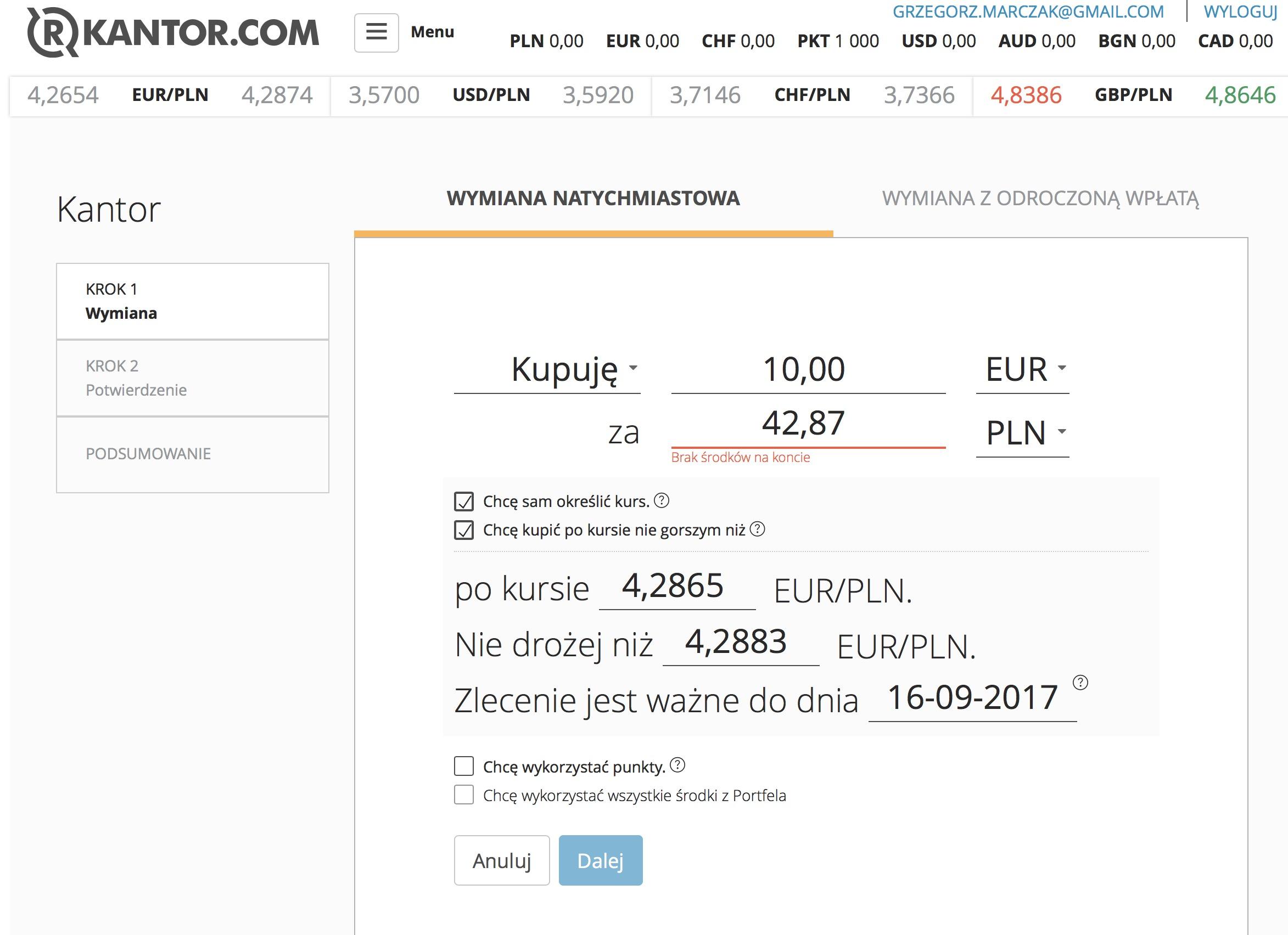 rkantor.com sprzedaż i zakup waluty