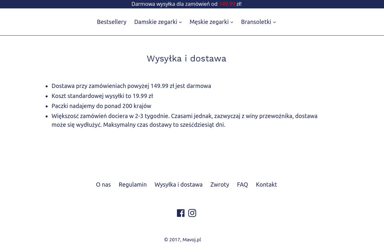 sklep mavoj.pl regulamin