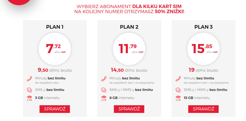 abonament dla kilku kart sim - virgin mobile. Oferta