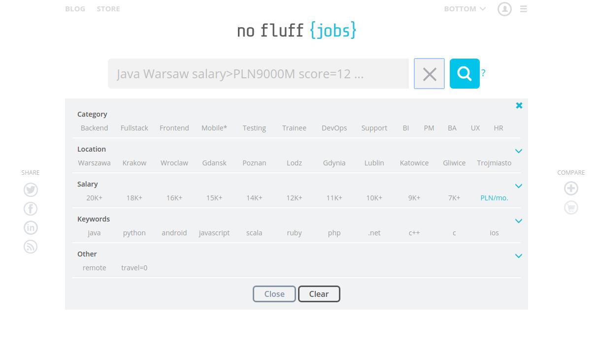 nofluffjobs - kategorie do wyboru