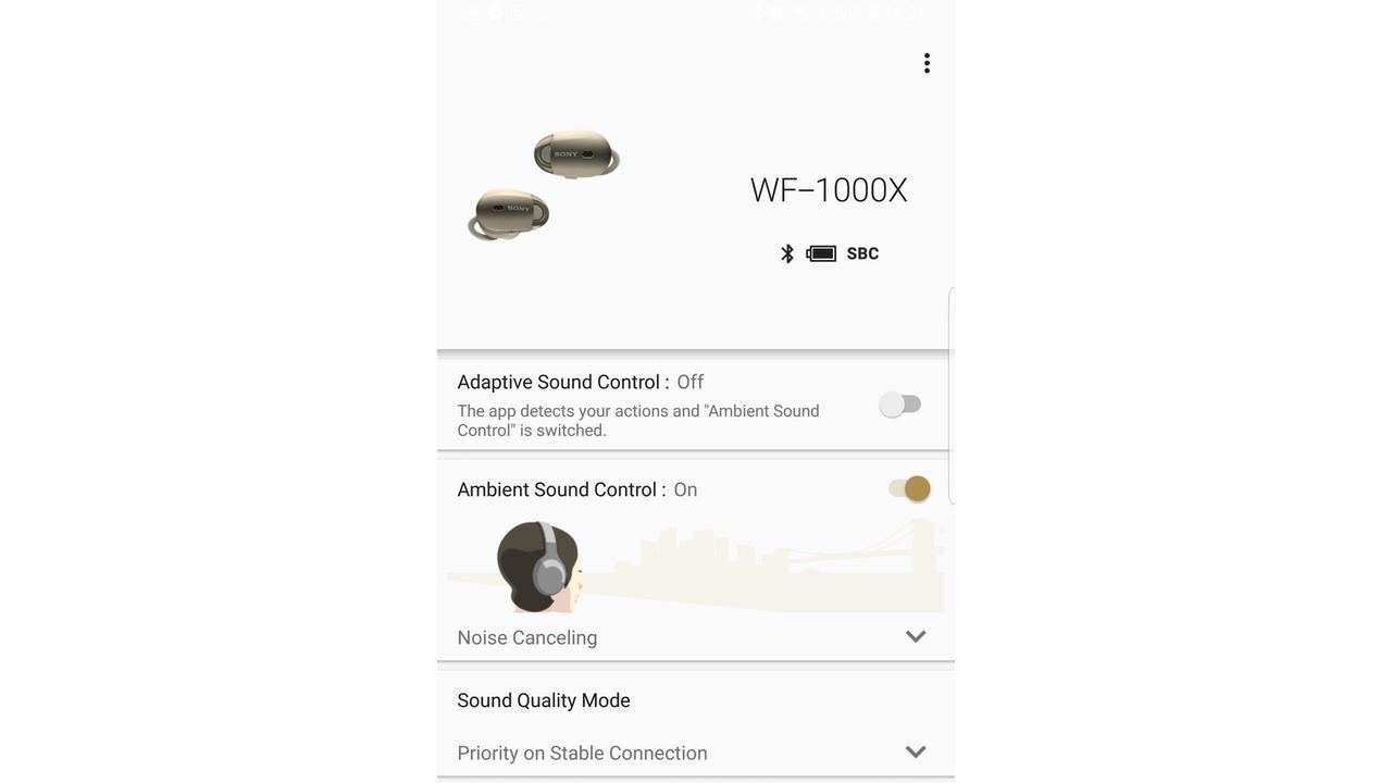 Sony WF-1000X - redukcja szumu i dźwięków z zewnątrz