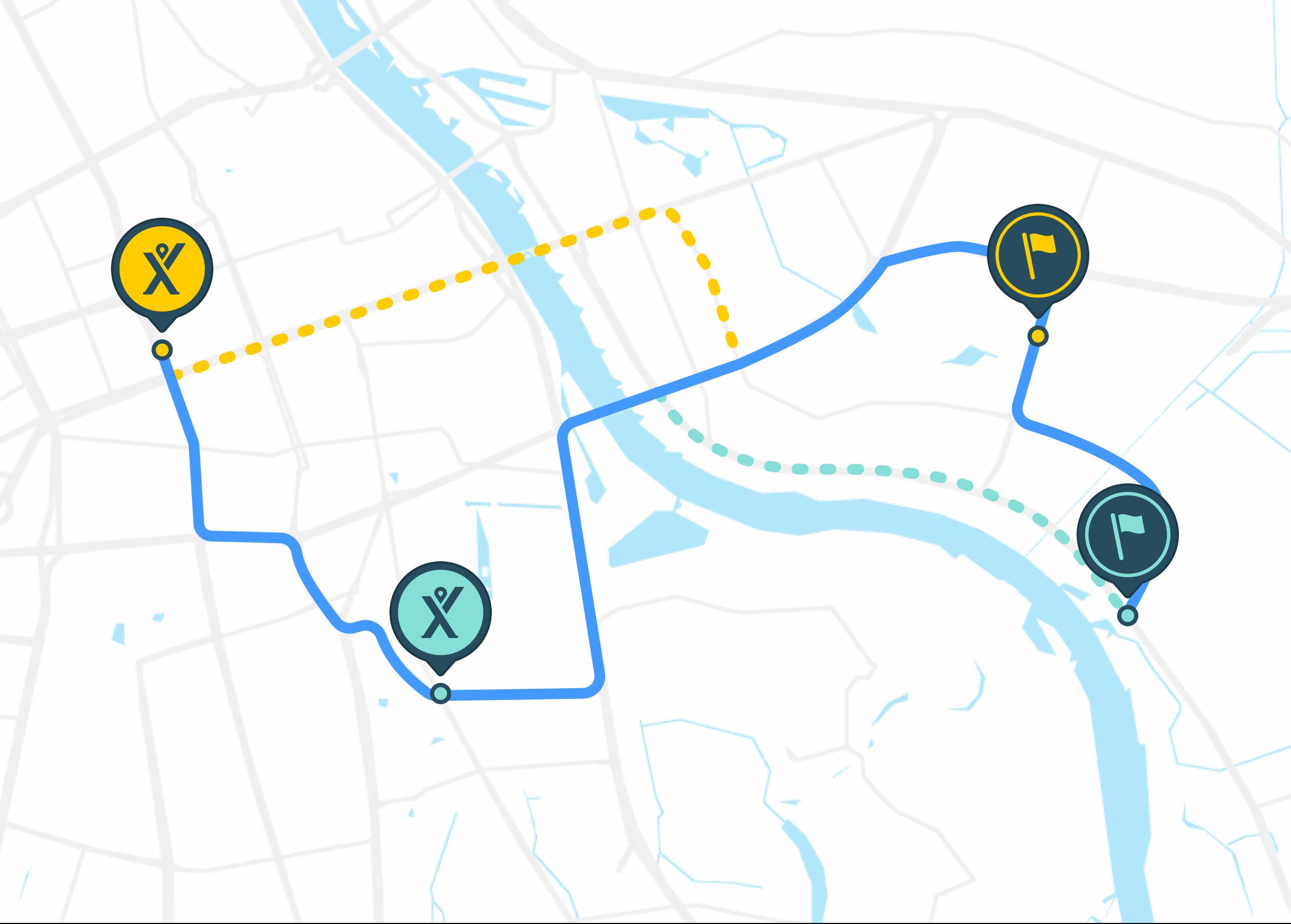 Mytaxi match - system działania. Mapa