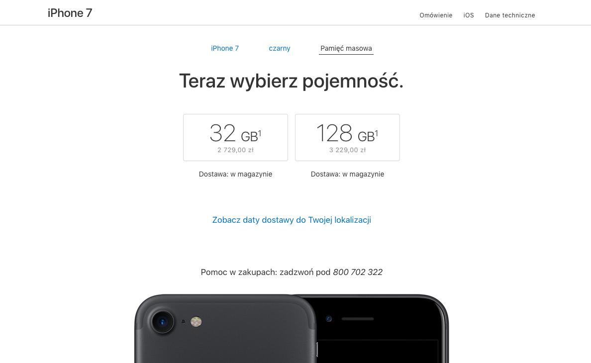 wybierz pojemność - zakup iphone 7