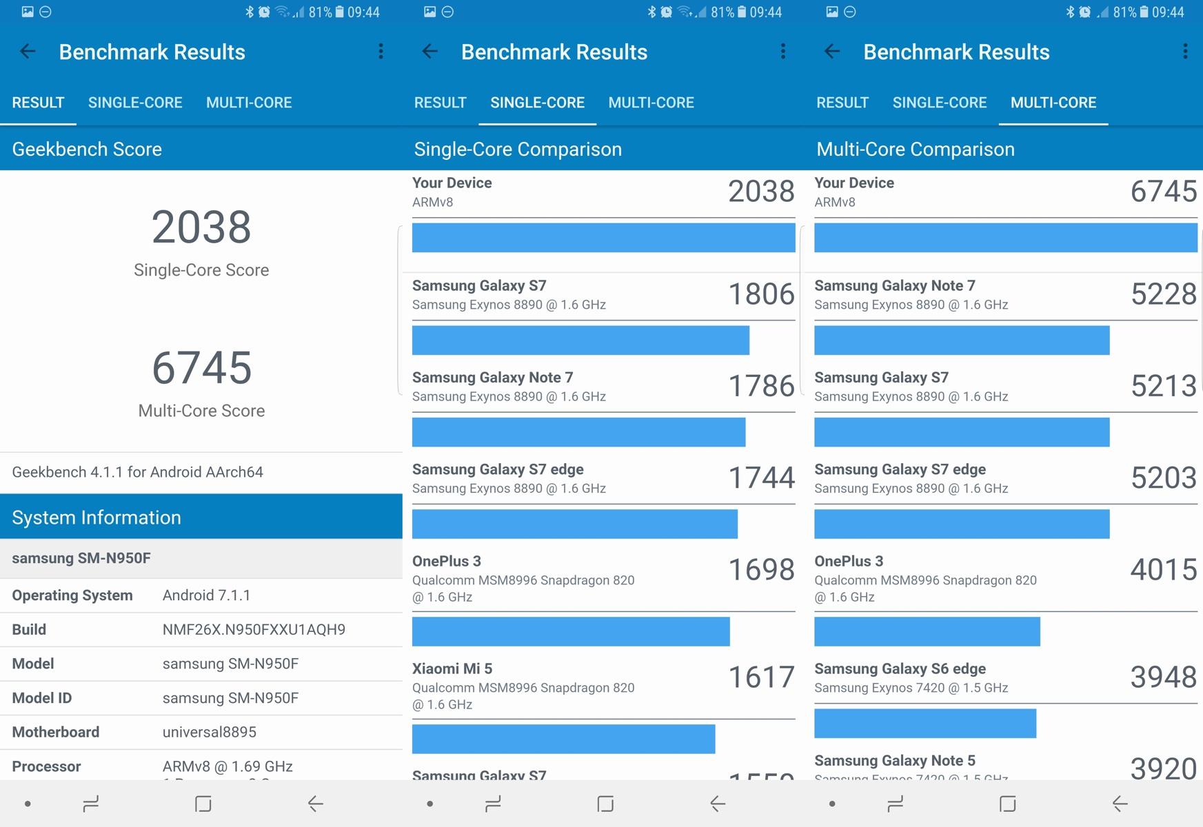 Samsung Galaxy Note 8 - benchmark test