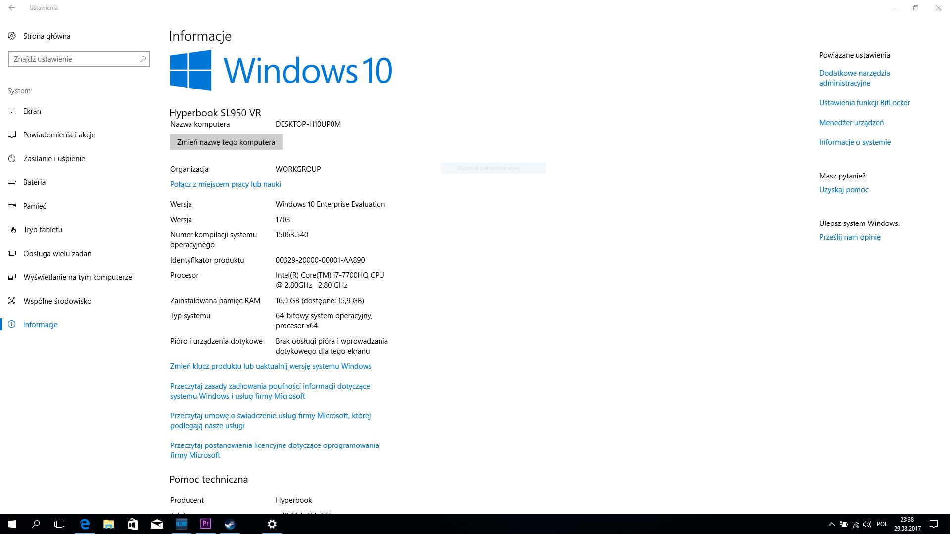 Hyperbook SL950VR - windows 10 i specyfikacja urządzenia