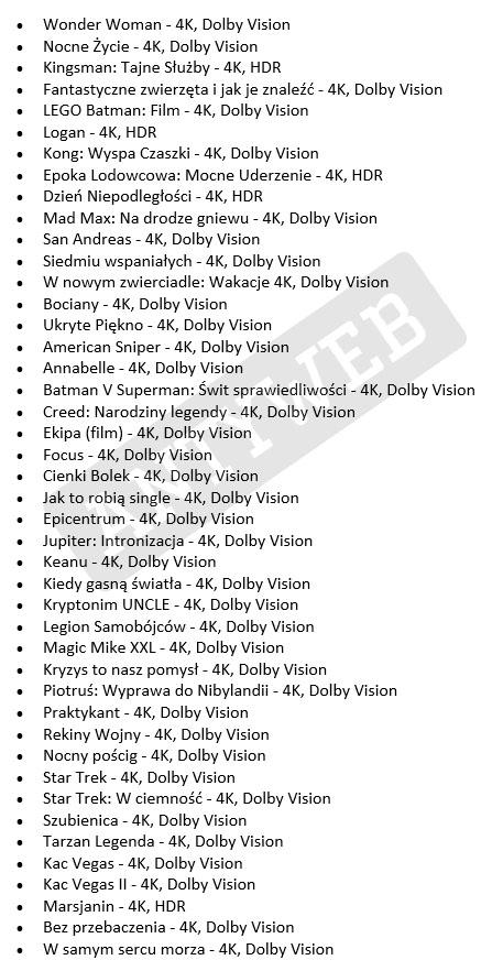 Pełna lista filmów 4K w iTunes - Dolby Vision/HDR - Antyweb