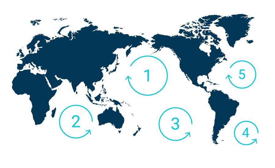 mapa świata i plamy śmieci