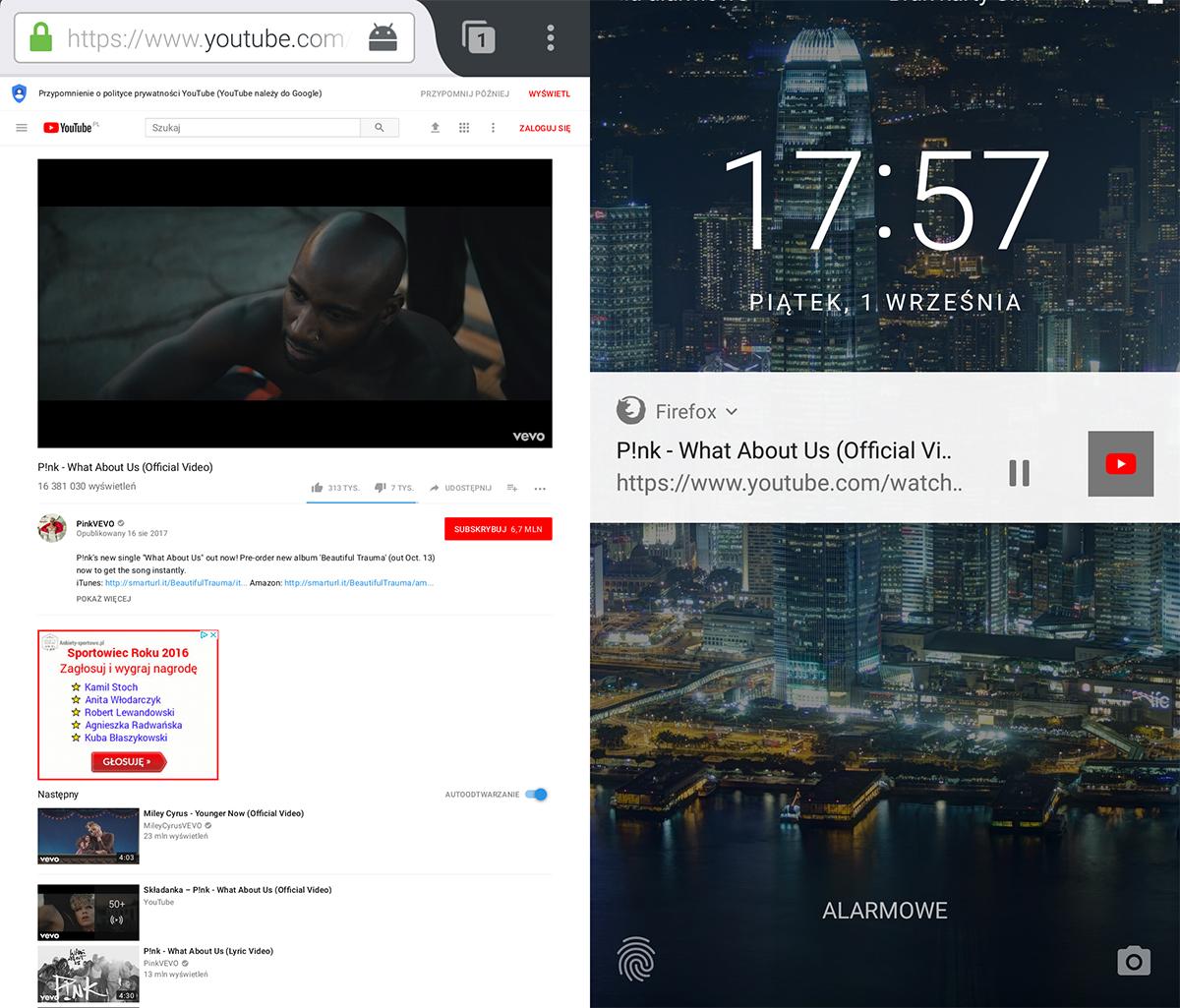 Mozilla Firefox i odtwarzanie youtube w tle