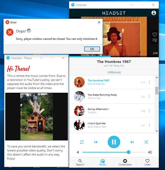 Interfejs programu Headset