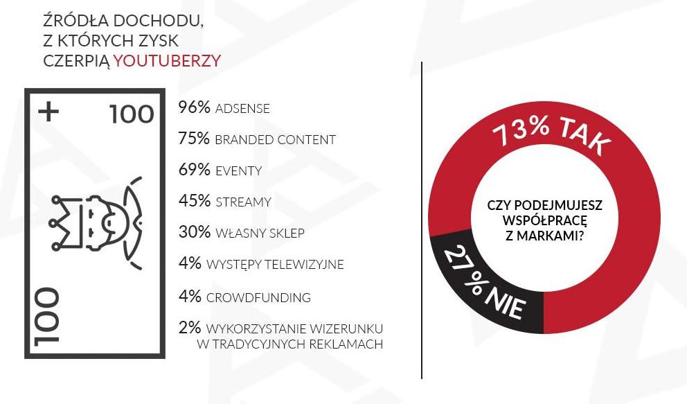 źródła dochodu na polskim youtube