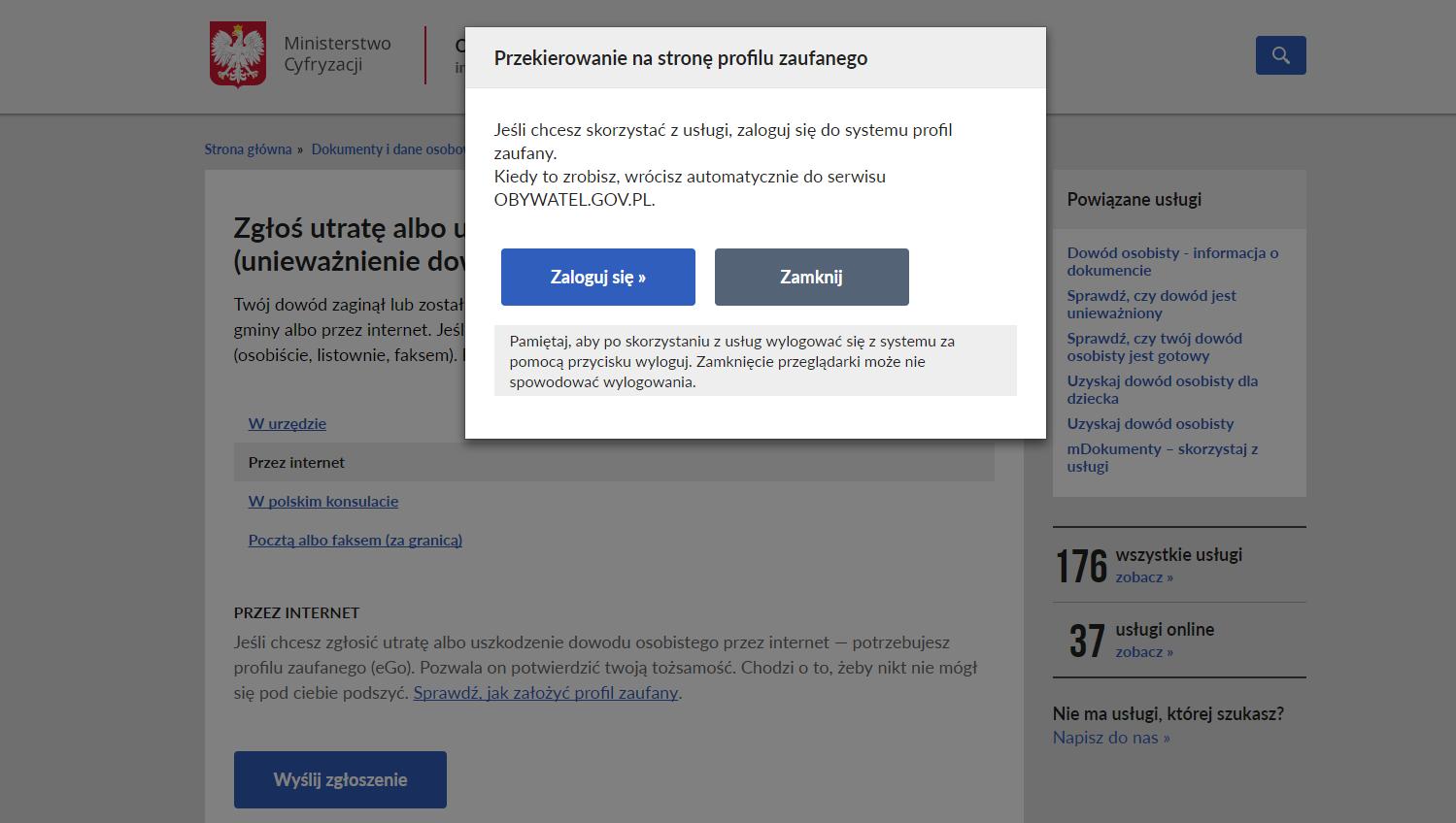przekierowanie na stronę profilu zaufanego - zgłoszenie utraty dowodu osobistego