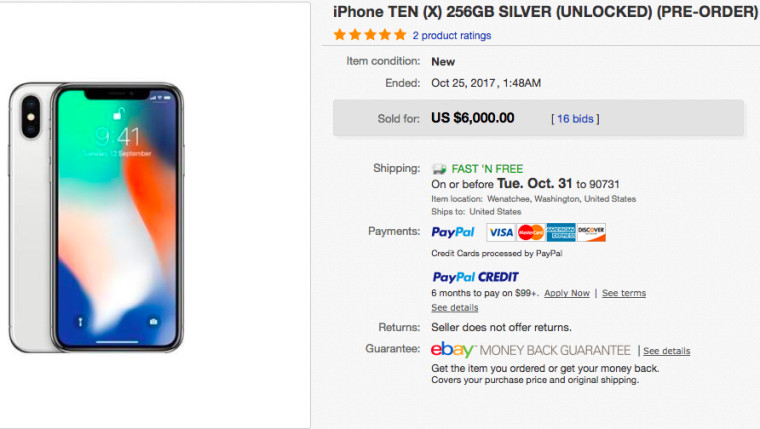 iphone x cena ebay