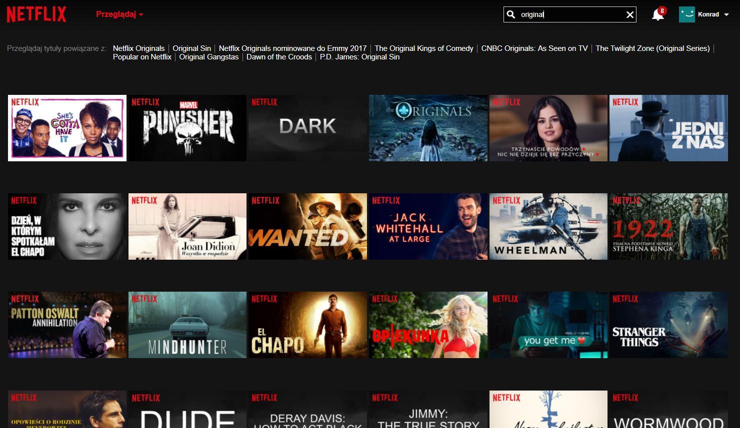 wyszukiwarka Netflixa - oryginalne produkty