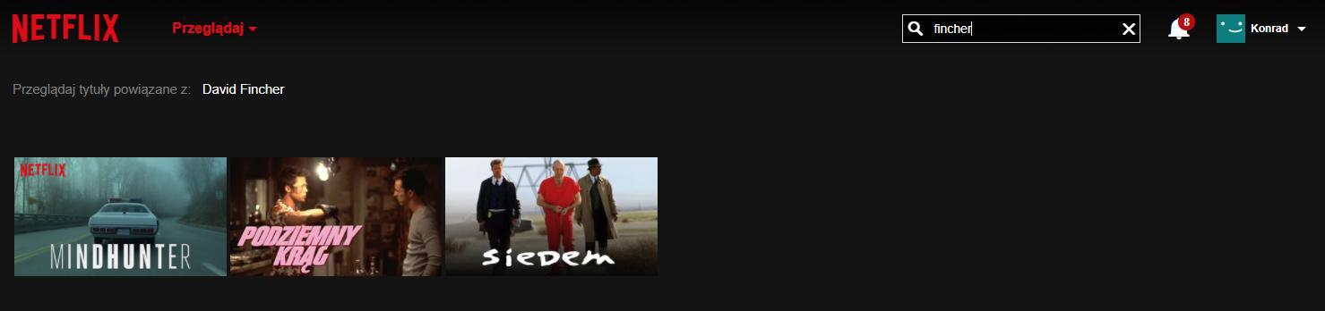 wyszukiwarka netflixa - reżyserzy, aktorzy
