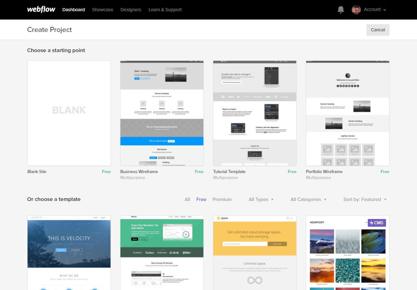 webflow - wybór projektu