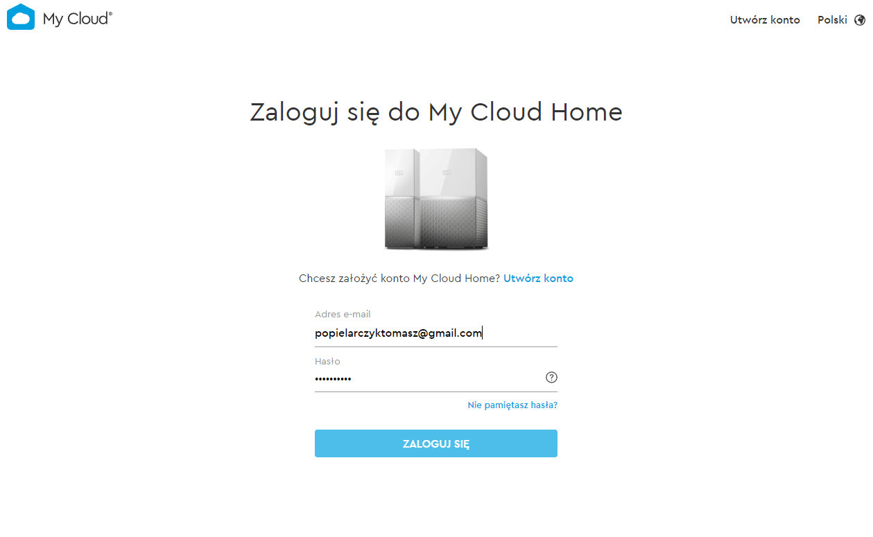 WD My Cloud Home logowanie