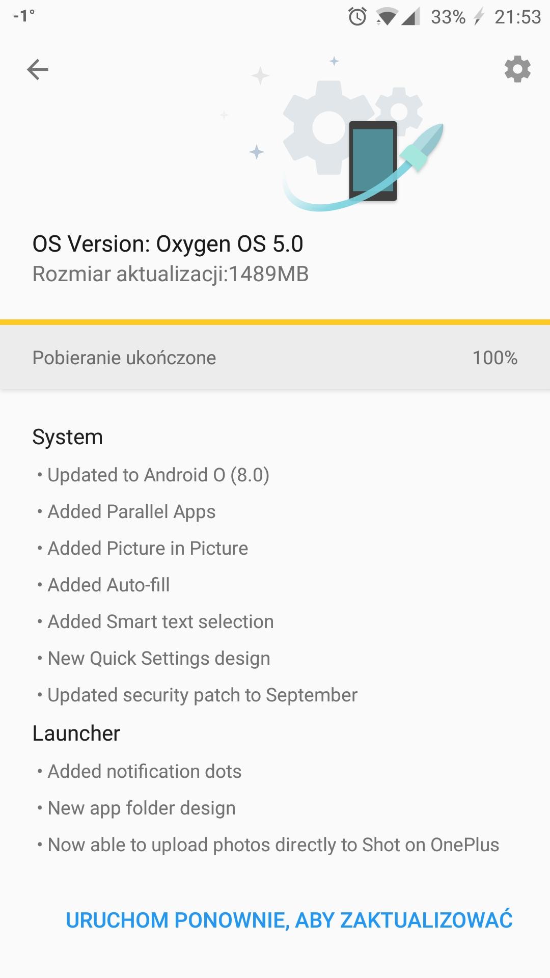 Oneplus 3 Android 8.0 Oreo aktualizacja