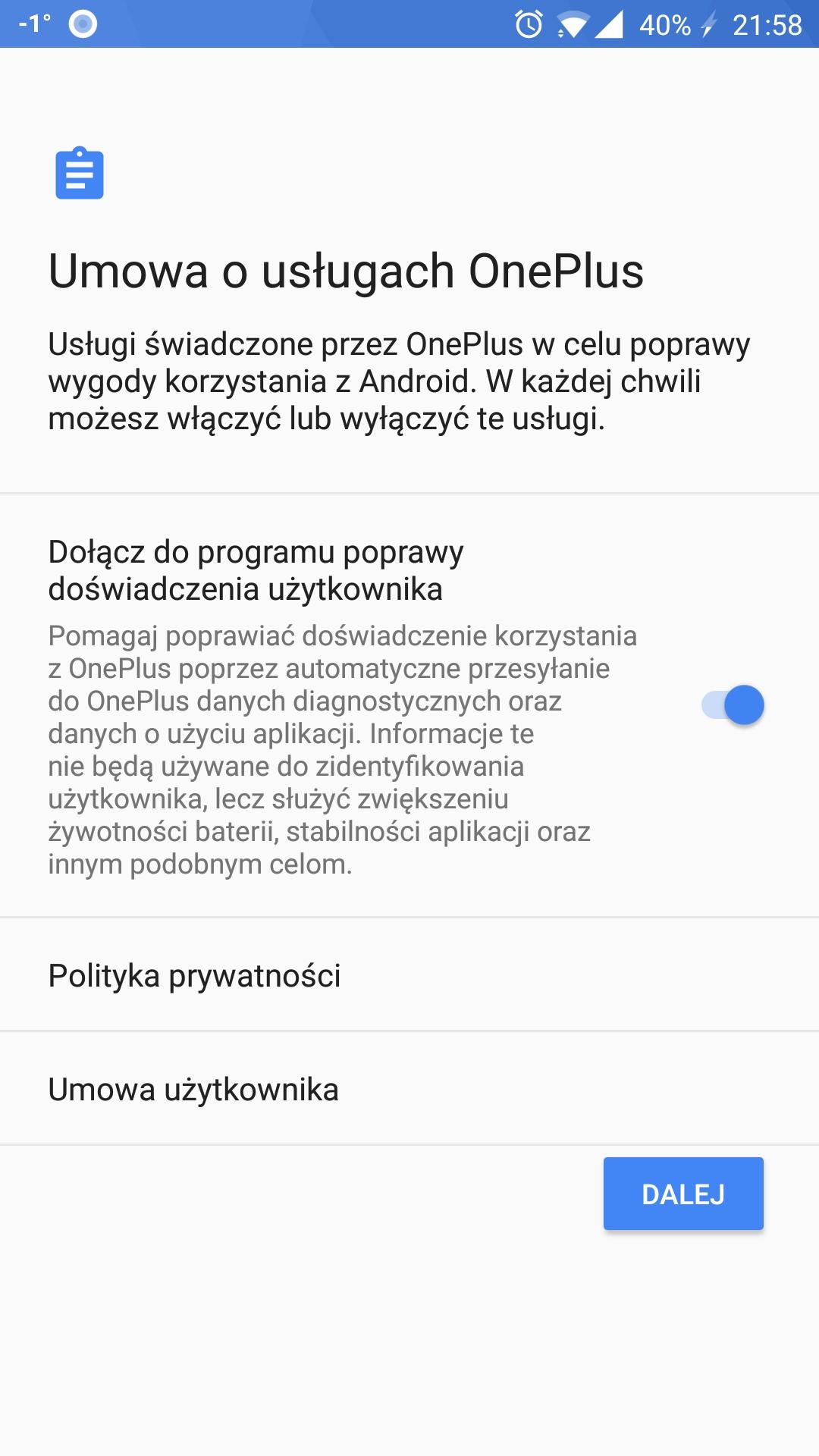 OnePlus umowa o usługach