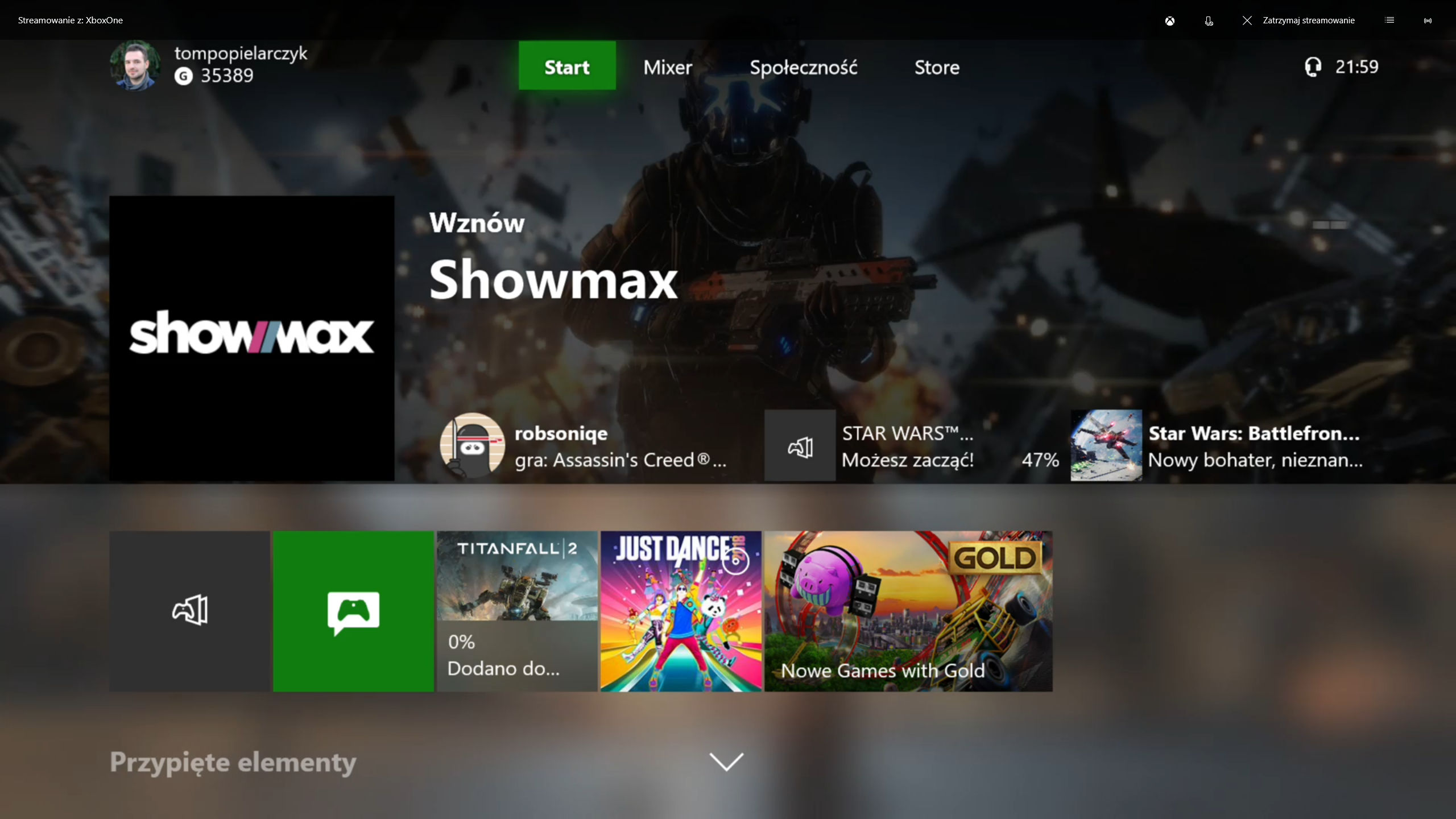 Xbox One X home interface