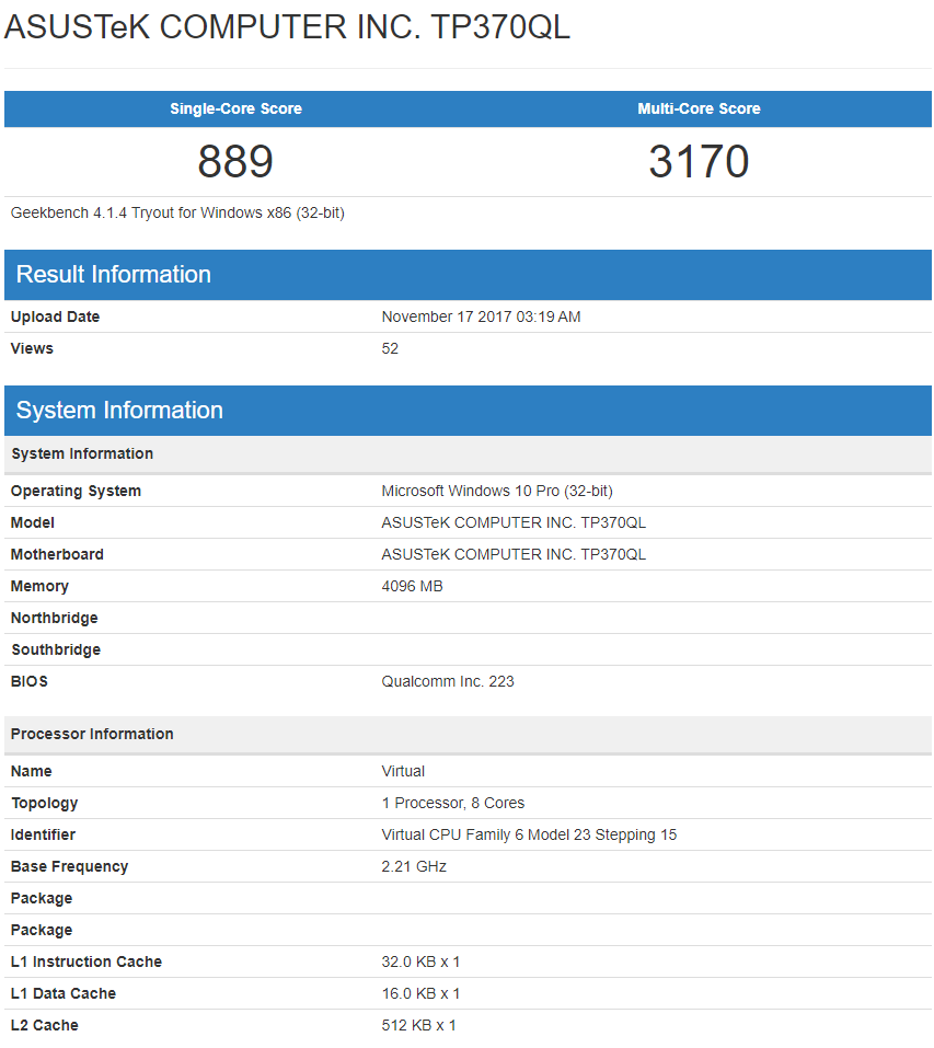 ASUS TP370QL Snapdragon 835 Windows 10